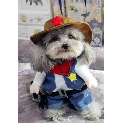 Cowboy Sheriff with Hat Funny Standing Costume for Dog - Woof Apparel