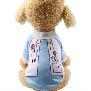 Cute Little Doctor Soft Dog Winter Coat Puppy Sweater - Woof Apparel
