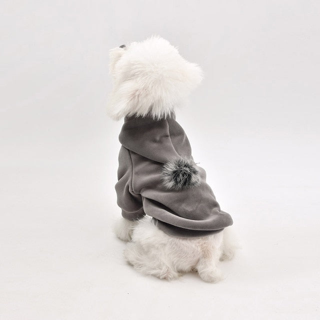 Shiny Cotton Winter Clothes Fur Ball Tip Puppy Hoodie - Woof Apparel