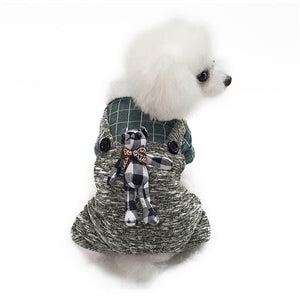 Puppy Jumpsuit Warm Dog Coat Plaid Bear Winter Overalls - Woof Apparel