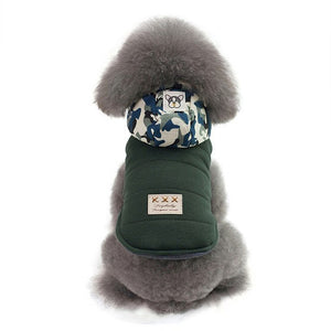 Warm Winter Vest With Soft Camouflage Hood For Small Dogs - Woof Apparel