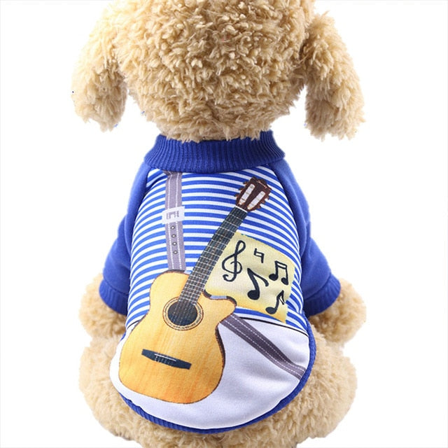 Cute Little Guitar Outfit Soft Winter Puppy Sweatshirt - Woof Apparel