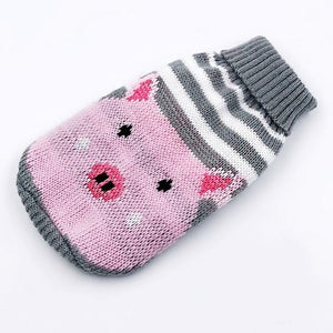 Pink Pig Striped Knitted Crochet Gray Small Dog Sweater - Woof Apparel