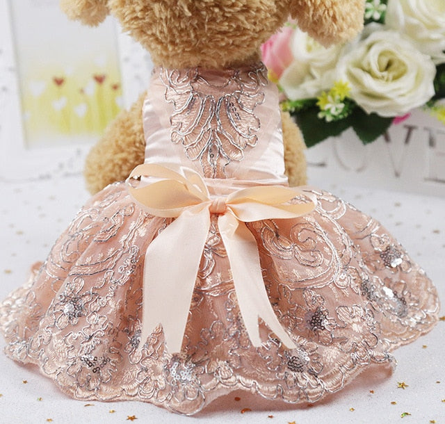 Gorgeous Lace Flower Embroid Design Skirt Dog Dress - Woof Apparel