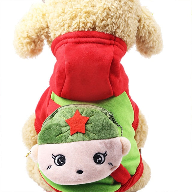 Cute Cartoon Boy Soldier Pocket Warm Fleece Lining Hoodie For Dogs - Woof Apparel