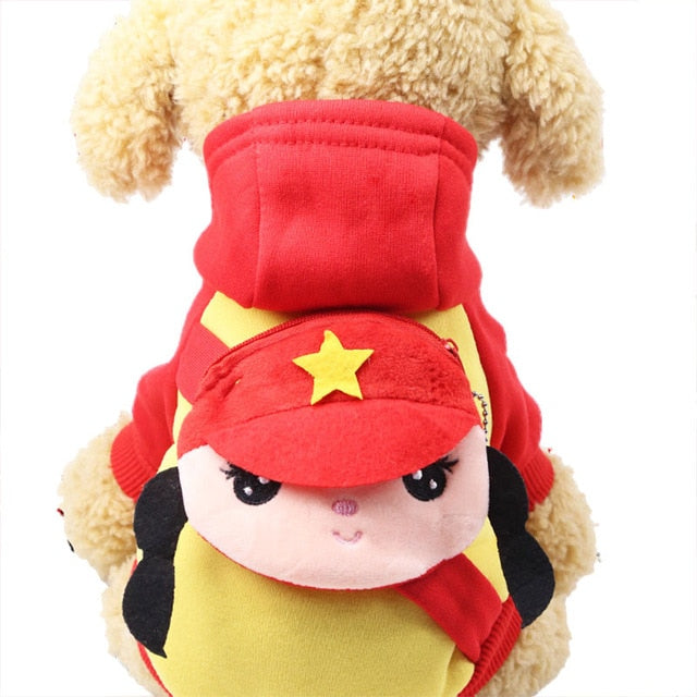 Cute Cartoon Girl Soldier Pocket Warm Fleece Lining Hoodie For Dogs - Woof Apparel