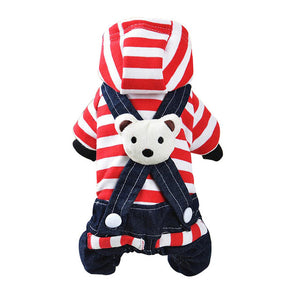 Red Black Bear Small Dogs Jumpsuit Puppy Overalls - Woof Apparel