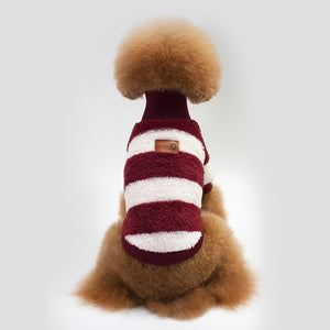Striped Soft Fleece Winter Clothes Puppy Sweatshirt - Woof Apparel