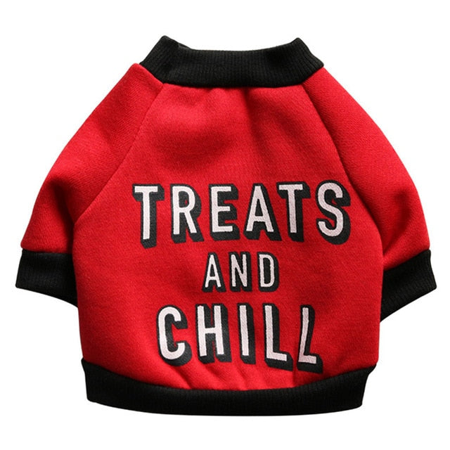 Treats & Chill Soft Cotton Fleece Sweatshirt For Small Dogs - Woof Apparel