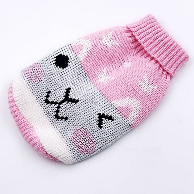 Rabbit Cutely Wink Knitted Crochet Pink Puppy Sweater - Woof Apparel