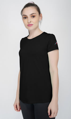 Trim Crew Neck Gym T-shirt For Women - Black