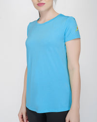 Shape Long Tail Gym T-Shirt For Women - Turquoise Blue