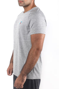 Grit Raglan Gym T-Shirt For Men - Grey Melange