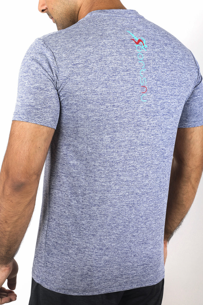 Train Gym T-Shirt For Men- Blue Melange