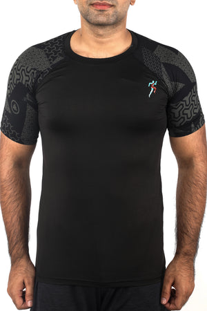 Grit Raglan Gym T-Shirt For Men - Geometric Black