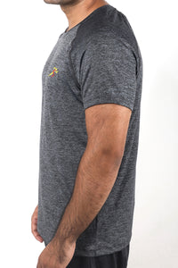 Grit Raglan Gym T-Shirt For Men - Dark Grey Melange