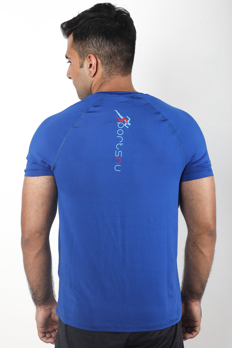 Train Raglan Gym T-Shirt For Men - Electric Blue