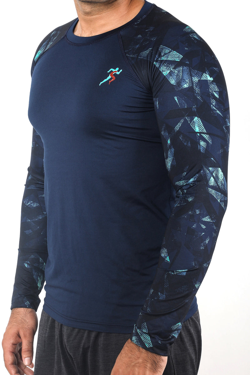 Train Full Sleeves Gym T-shirt For Men - Blue Geometric