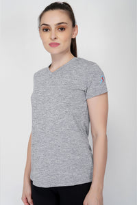 Move V-Neck Gym T-shirt For Women - Grey Melange