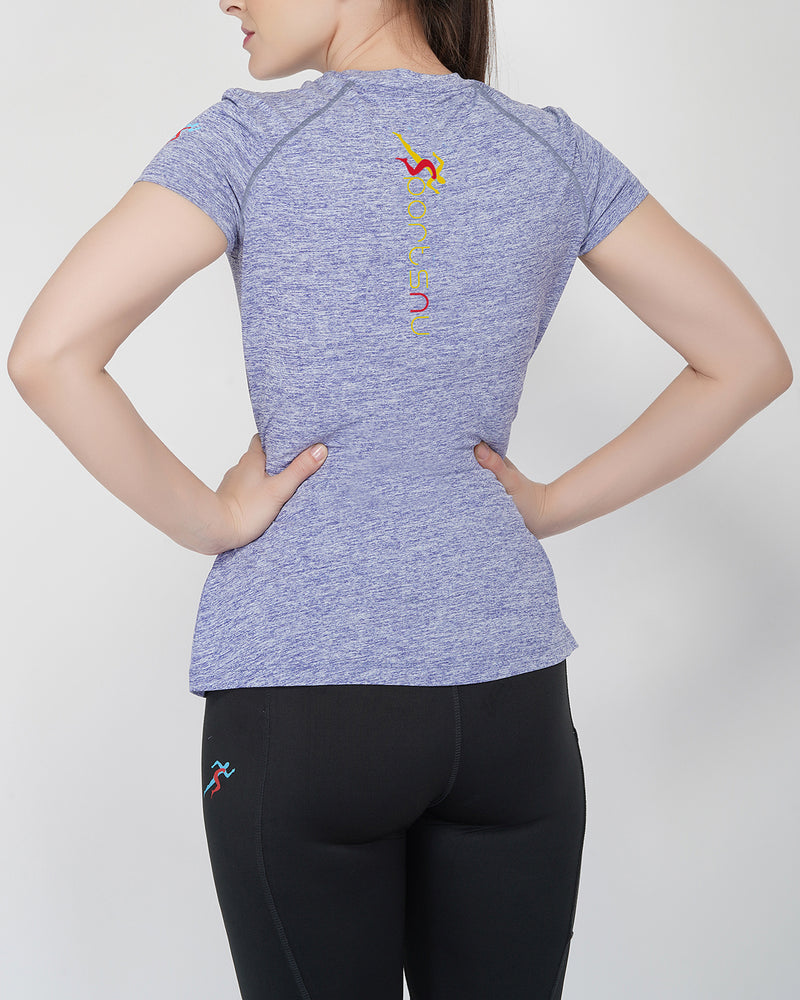 Move Raglan Gym T-shirt For Women - Yellow Logo
