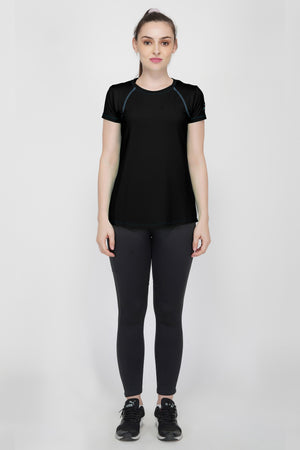 Trim Raglan Gym T-Shirt For Women - Black
