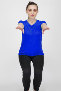 Trim Crew Neck Gym T-shirt For Women - Electric Blue