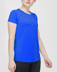 Trim Raglan Gym T-Shirt For Women - Electric Blue