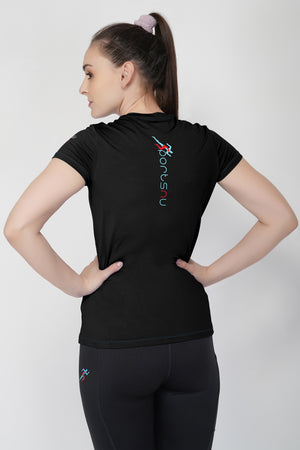 Move V-Neck Gym T-shirt For Women - Black