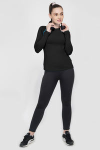 Trim Full Sleeves Gym T-Shirt For Women - Black