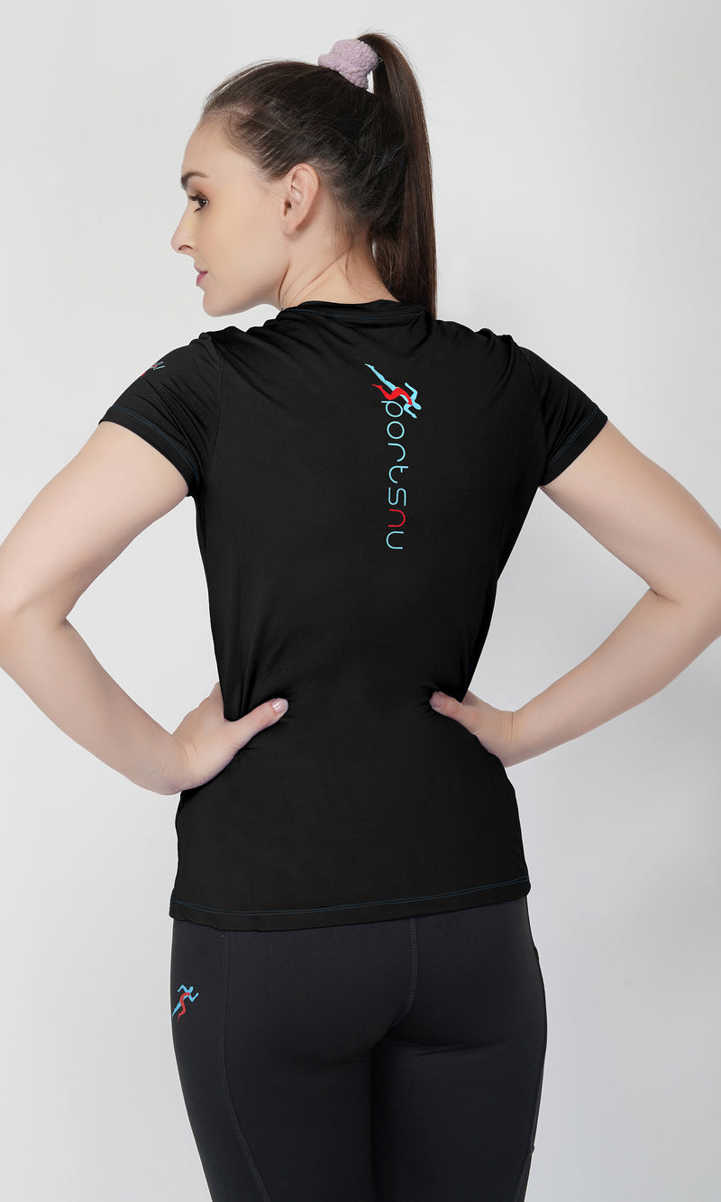 Trim V-Neck Gym T-Shirt For Women - Black