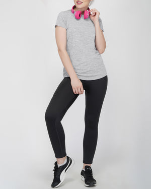 Shape Long Tail Gym T-Shirt For Women - Grey Melange