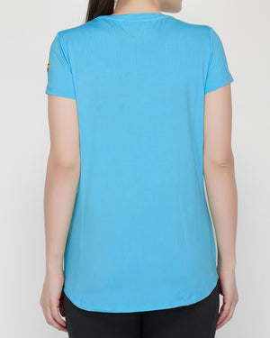 Shape Long Tail T-Shirt - Turquoise Blue