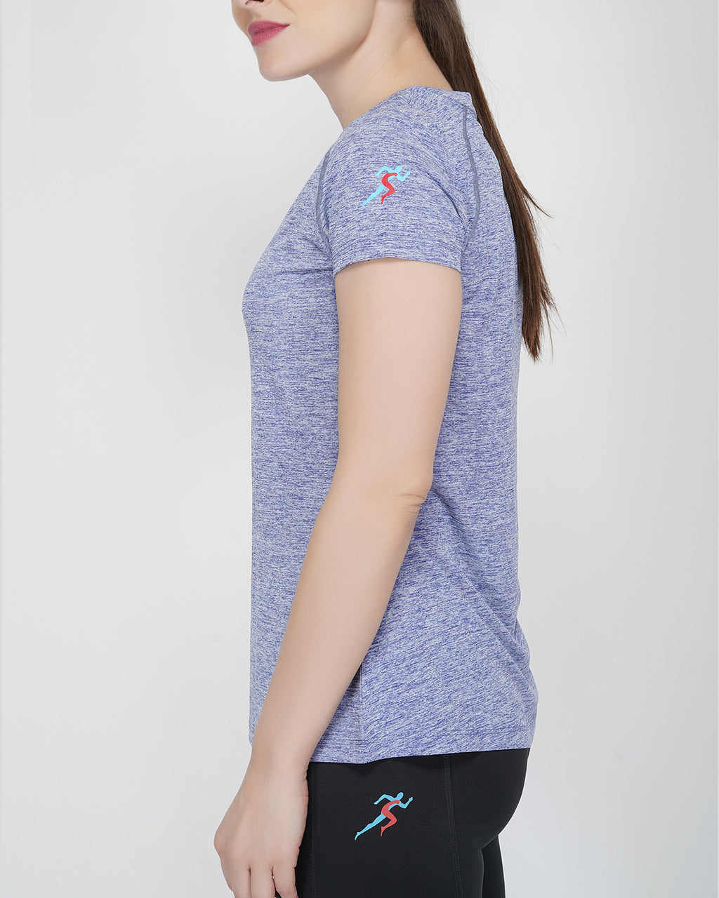 Trim Raglan Gym T-Shirt For Gym - Blue Melange