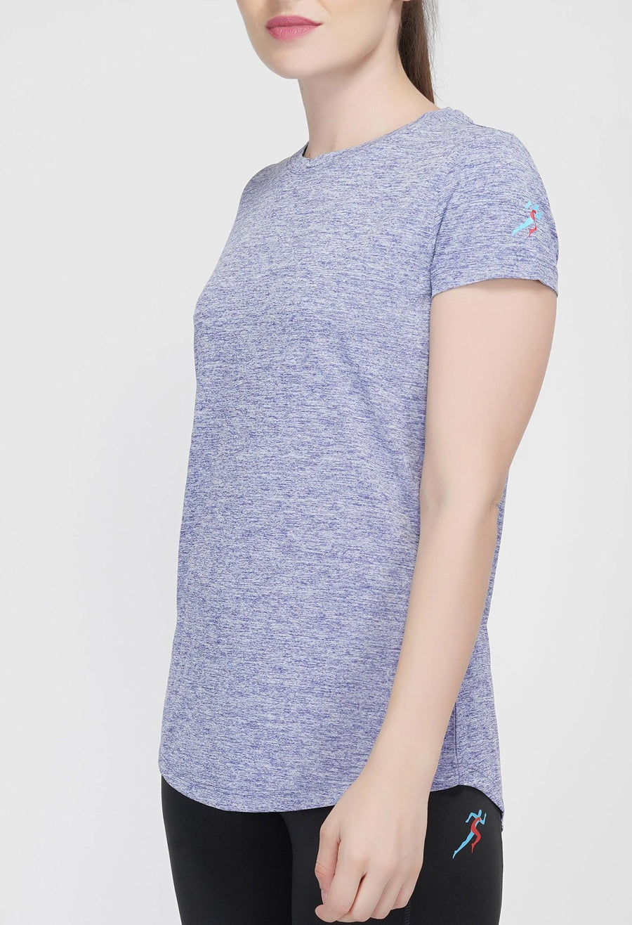 Move Crew Gym T-shirt For Women - Blue Melange