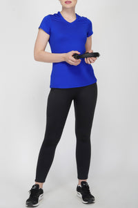 Trim V-Neck Gym T-Shirt For Gym - Electric Blue