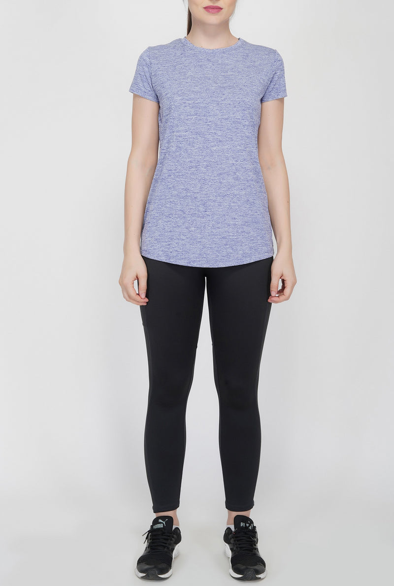 Shape Long Tail Gym T-Shirt For Women - Blue Melange