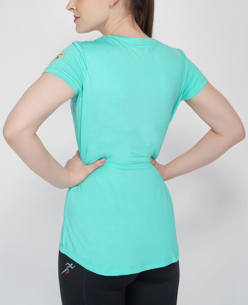 Shape Long Tail Gym T-Shirt For Women - Hawaiian Blue
