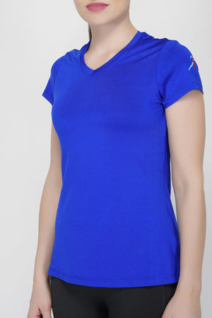 Trim V-Neck T-Shirt - Electric Blue