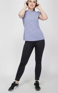 Trim Crew Neck Gym T-shirt For Women - Blue Melange