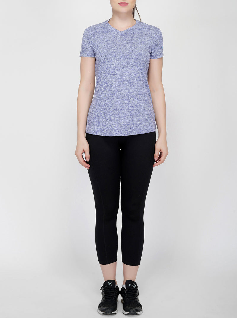 Trim V-Neck Gym T-Shirt For Women - Blue Melange