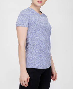 Move V-Neck T-shirt - Blue Melange