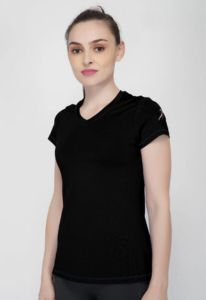 Trim V-Neck T-Shirt - Black