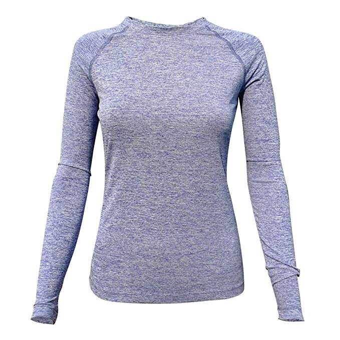Trim Full Sleeves Gym T-Shirt For Women- Blue Melange