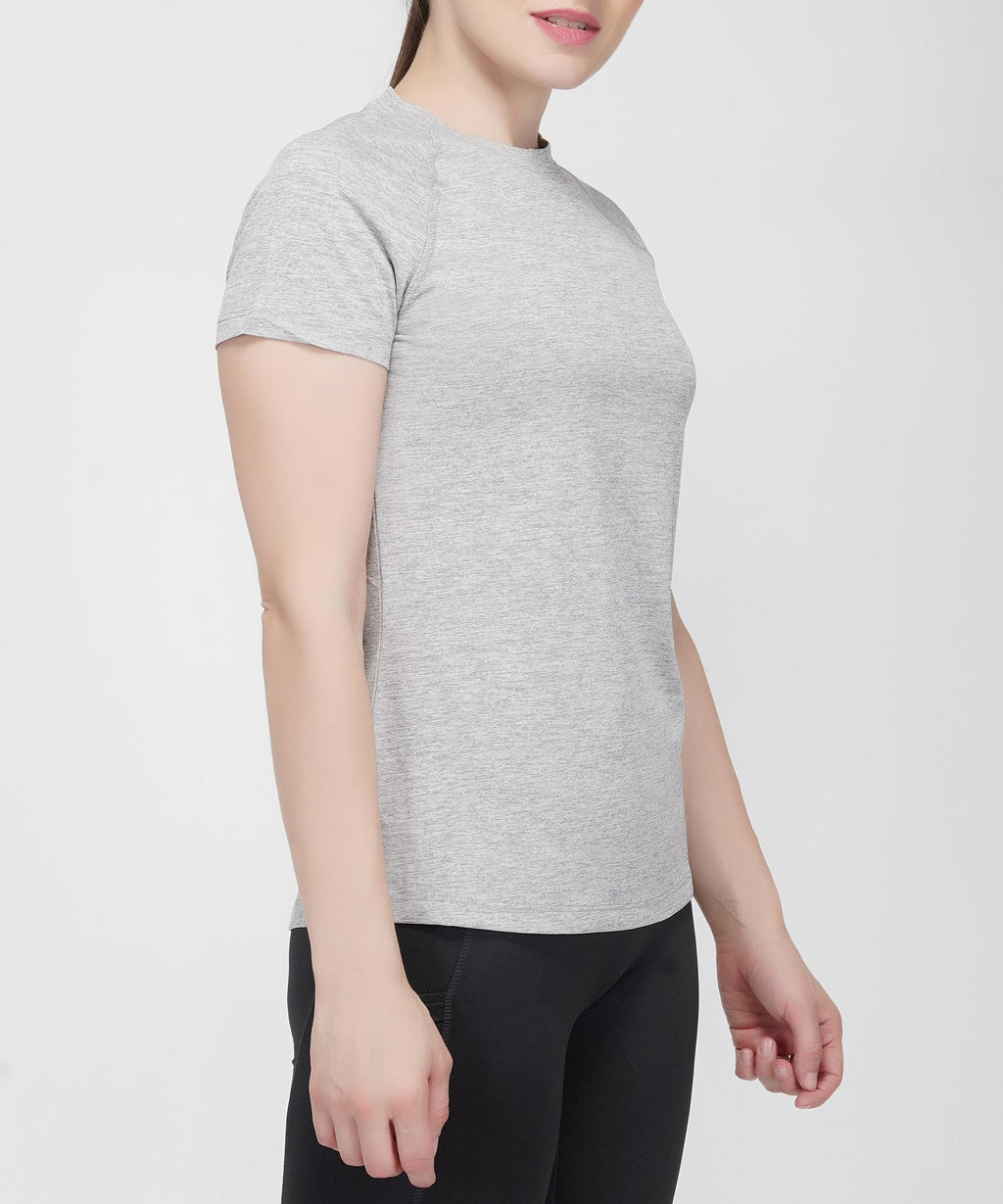 Move Raglan Gym T-shirt For Women - Grey Melange