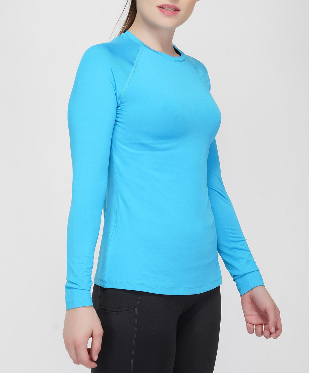 Trim Full Sleeves T-Shirt - Blue Turquoise