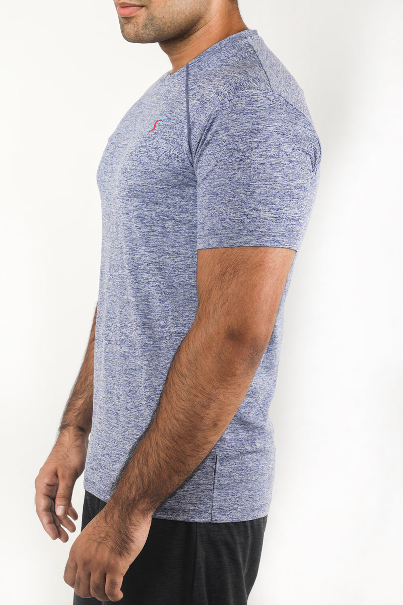 Train Raglan Gym T-Shirt For Men - Blue Melange