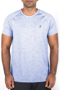 Grit Raglan Gym T-Shirt For Men - Blue Melange