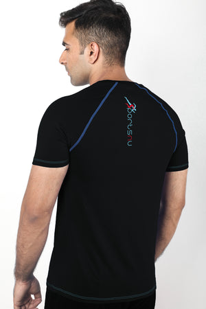Grit Raglan Gym T-Shirt For Men  - Black
