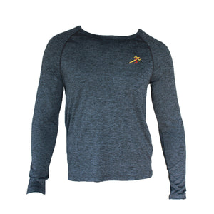 Train Full Sleeves Gym T-shirt For Men - Dark Grey Melange