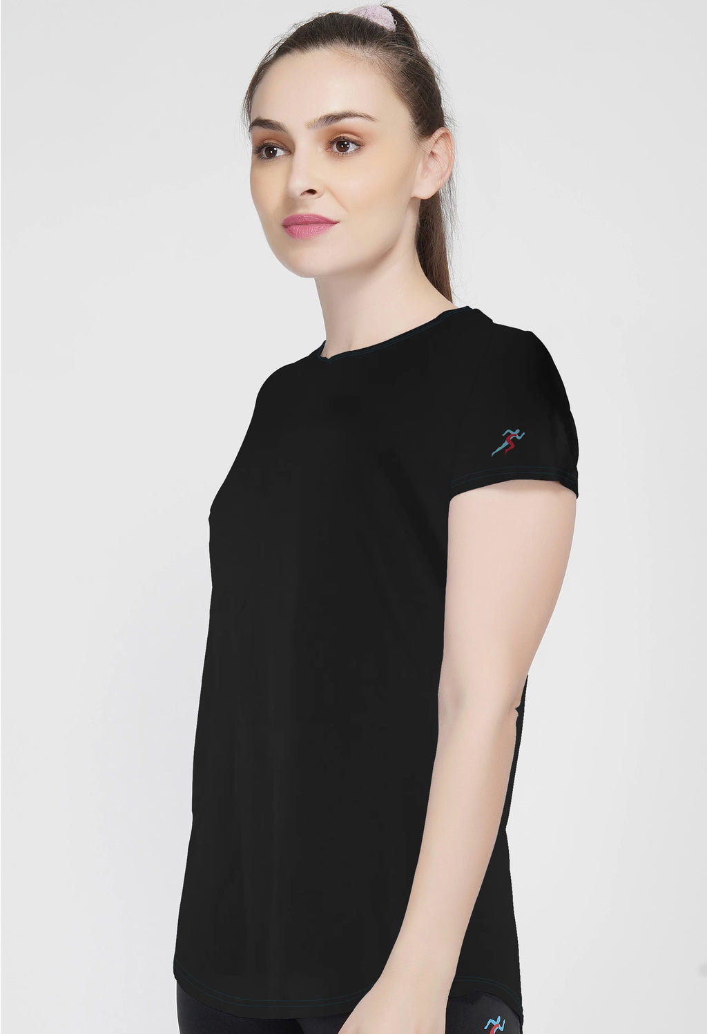 Shape Long Tail Gym T-Shirt For Women - Black